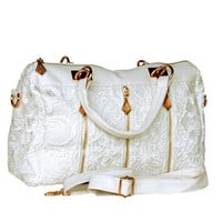 Lacey White Double Handle Leatherette Handbag