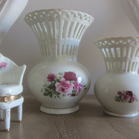 Formalities Rose Pattern Large and Medium Vase 2PC Set Porcelaine with Lace Rims