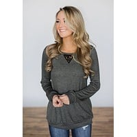 Trace of Lace Long Sleeve Top- Charcoal
