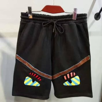 FENDI man surf black print shorts pants H-YF-MLBKS
