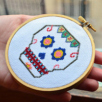 Mexican Skull -Mod. IV- Sugar Skull Pattern, Cross Stitch Pattern, Embroidery Pattern, Embroidery Hoop, Pattern PDF- Instant Download