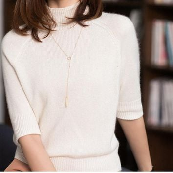 2018 Spring and Autumn Period New Woman Half-Cow Neck Cashmere Sweater Fashion Casual Pullover Loose Knit Short-Sleeve Vest