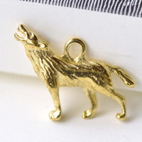 Gold Wolf Howling Charms Pendants 20x26mm Set of 10 A8084