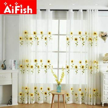 Yellow Sunflower Embroidered Curtains for Living Room Window Treatments Tulle for windows Balcony Linen Sheer Fabrics AP187-30