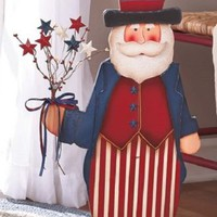 "24"" Wooden Uncle Sam Statue Patriotic Americana July 4th Star Flowers Home Decor"