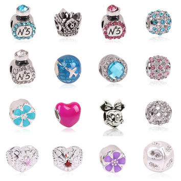 Free Shipping 1pc Large Hole Silver Plated Beads Lovely Minnie Mouse Charms Fits European Pandora Charm Bracelet Jewelry Gift