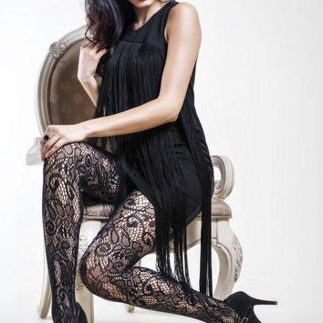 Women's Spandex with Seamless Lace Pattern Pantyhose