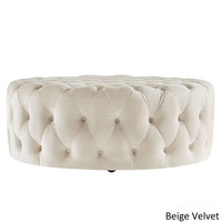Knightsbridge Round Velvet Tufted Cocktail Ottoman with Casters by iNSPIRE Q Artisan | Overstock.com Shopping - The Best Deals on Ottomans