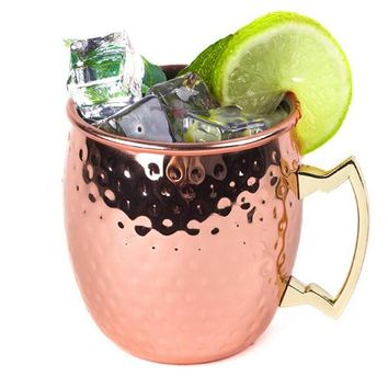Drum Style Stainless Steel Beer Wine Coffee Milk Cup Rose Gold Drinking Cup 530ML Hammered Copper Plated Moscow Mule Cup Gift