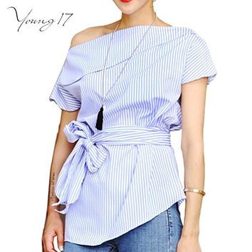 Young17 Summer office wear blouses Off Shoulder Women Striped Shirt sexy slash neck Bow Tie Bandage Tops Party Club Shirts Blusa