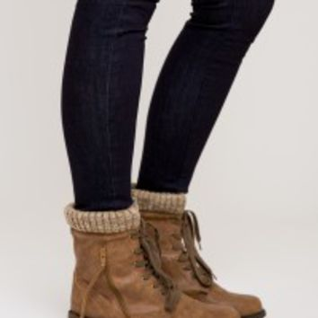 Patricia Combat Boots - Taupe - Boutik Collections