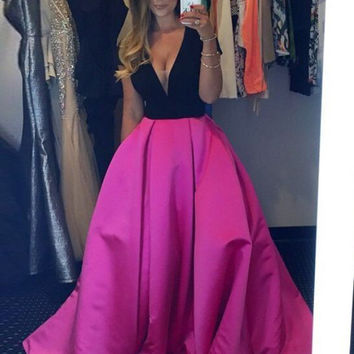 V-Neck Prom Dress,Hot Pink Satin Prom Dresses,Evening Dresses