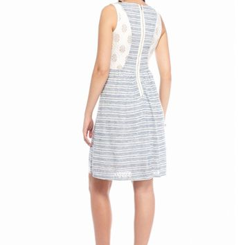 maia Lace Back Striped Fit and Flare Dress