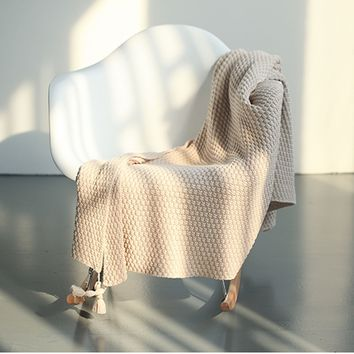 Super Soft Waffle Knitted Throw Blanket with Tassels