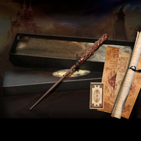 Harry Potter Style Handmade Copper Style Magical Wand In Luxury Presentation Box With Satin Lining and Free Marauder's Map
