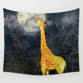 What the moon tastes like? (Giraffe and Moon) Wall Tapestry by Nirvana.K