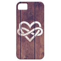 Vintage White Infinity Heart Love Brown Wood Grain iPhone 5 Covers