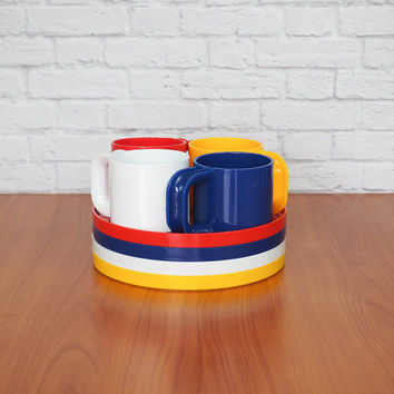 Vintage INGRID Chicago Mini Snack Set / Primary Colors Plastic Plates and Cups / Picnic Set for 4 / HELLER style