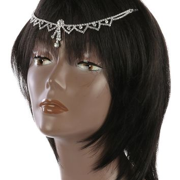 Clear Rhinestone Head Chain Hair Accessory