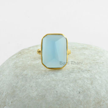 Gemstone Ring, Pyramid Ring, Silver Ring, Blue Chalcedony Pyramid 13x18mm, Gold Plated Ring 925 Sterling Silver Ring #1188