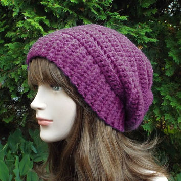 Purple Womens Slouch Beanie - Ladies Slouchy Crochet Hat - Oversized Ribbed Cap - Chunky Hat