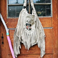 Aztec navajo navaho light grey fringed tribal leather oversized southwestern big native hobo weekender boho gypsy festival