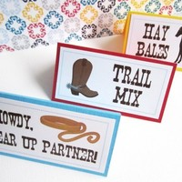 Western Cowboy Themed Party Food Tent or Place Cards