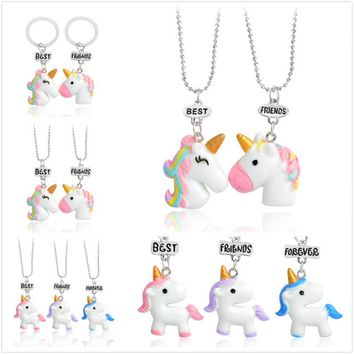 QIHE JEWELRY Pendant necklace Rainbow Beast with a horn Best friend necklace set Cute jewelry BFF jewelry Gift for friends