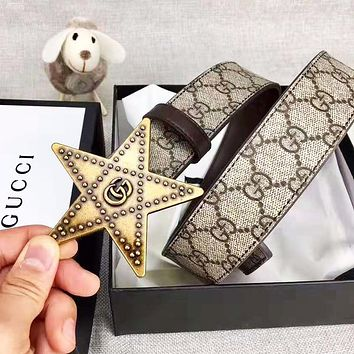 GUCCI Fashion Women Men Pentagram Buckle Belt Leather Belt With Box