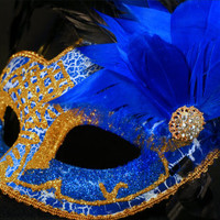 Blue and Gold Mask, Venetian Mask, Masquerade Mask, Wedding Mask, Prom Mask,  Party Mask, Venetian Mask with Feathers, Mardi Grass Mask