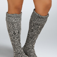 Speckle Cable Knit Knee High Socks