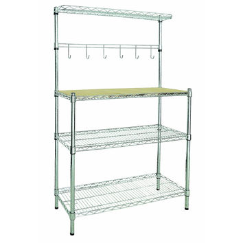 3-Shelf Chrome Metal Bakers Rack With Removable Cutting Board