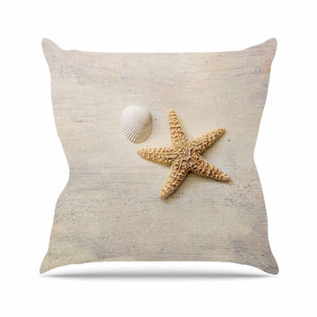 "Sylvia Cook ""Starfish And Shell"" Beige Yellow Outdoor Throw Pillow"