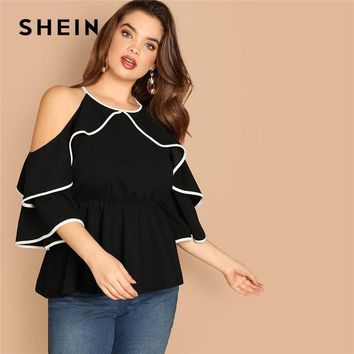 SHEIN Plus Size Sexy Cold Shoulder Butterfly Sleeve Women Black Ruffle Blouse 2019 Casual Spring Three Quarter Sleeve Top Blouse
