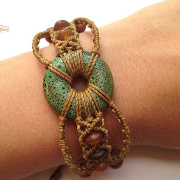 Handwoven ceramic macrame bracelet with natural horn beads boho bohemian gypsy elvin tribal macrame micromacrame