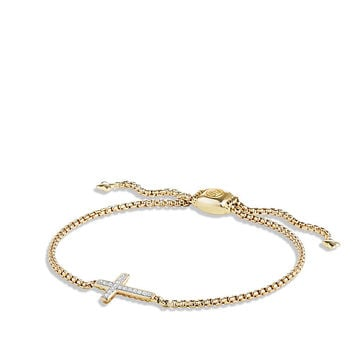 Petite Pave Cross Bracelet with Diamonds in 18K Gold