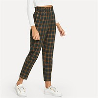 Green Office Lady Elegant Exposed Zip Fly Plaid Peg Mid Waist Carrot Minimalist Pants Casual Women Trousers