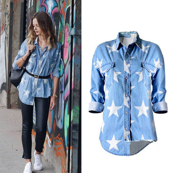 New Fashion Hot Sale Women's Cotton Leisure Popular BF Loose with Stars Washed Denim Pocket Shirt Irregular High and Low Tassel