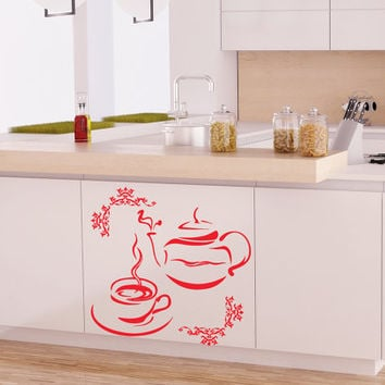 Wall Vinyl Sticker Decal Teapot and Cup Cafe Kitchen Art Design Room Nice Picture Decor Hall Wall Chu315