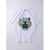 KENZO 2019 new embroidered tiger head couple models loose round neck wild T-shirt white