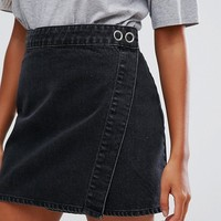 ASOS Denim Mini Wrap Skirt in Washed Black at asos.com