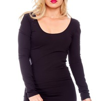 BLACK WIDE NECKLINE LONG SLEEVES PENCIL STYLE PARTY DRESS