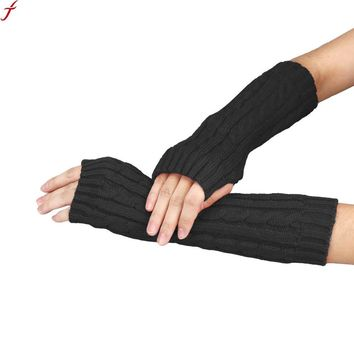 7 Colors Gloves fashion ladies Knitted Arm Fingerless Winter Gloves female gloves Soft Warm Mitten Guantes Sra Invierno 2017