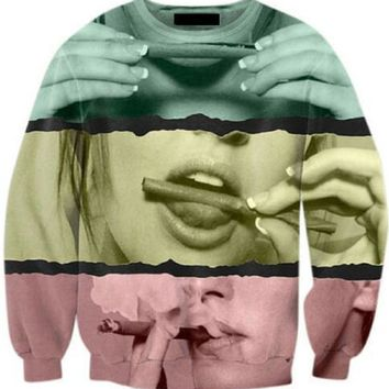 83ccb1c2 Harajuku Tumblr Hoodies Girl Smoking Weed Crewneck Sweatshirt 3D