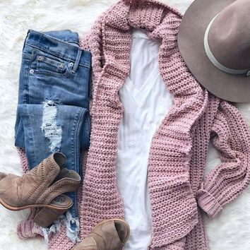 The Boston Bundle Sweater in Rose