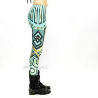 Glamrock Hippie Mint Aztec Tribal Foil Leggings