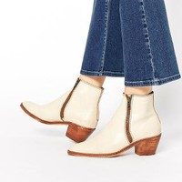 H By Hudson   H by Hudson Azi Off White Leather Ankle Boots at ASOS