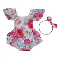 Newborn Infant Baby Girl Floral Romper Back Cross Jumpsuit Headband Outfits Clothes