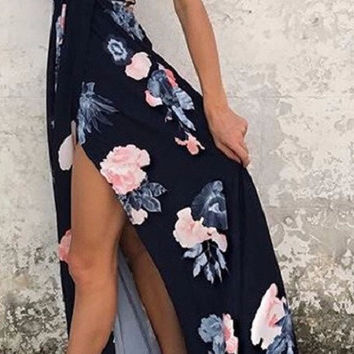 Blue & Dusty Pink Vibe Cross-Back Maxi Dress