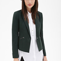 FOREVER 21 Zip Pocket Blazer Green